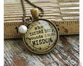 BYE BYE SALE!  Turn Wounds Into Wisdom, Inspired Pendant Necklace, Motivational Jewelry, Spiritual Quotes, Choose Joy, Aged Bronze Pendant
