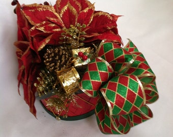 Christmas Floral Centerpiece in a Drum Basket - New Price!!
