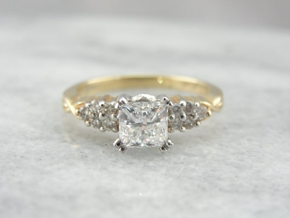 Vintage Princess Cut Diamond Engagement Ring Simple Gold and
