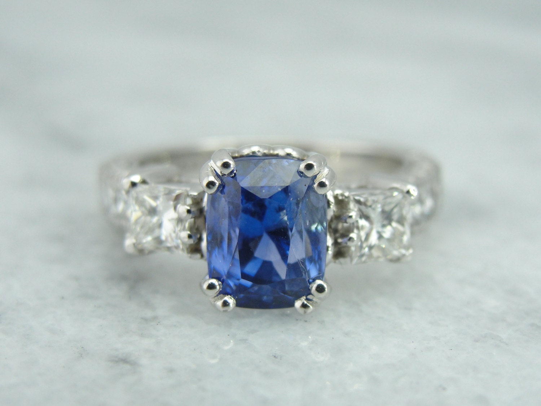 ceylon sapphire engagement ring blue gem and