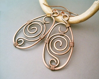 Wire Wrapped Earrings old-looking Copper  - Handmade Copper Earrings - wire wrapped Earrings handmade