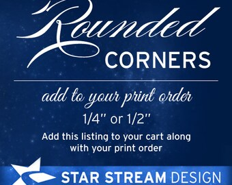 """ADD ROUNDED CORNERS to Invitation or Card - 1/4"""" or 1/2"""""""