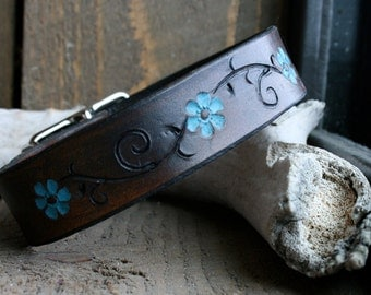 Dark brown leather dog collar with turquoise flower accents