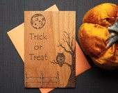 Spooky Halloween Wood Card - Halloween Wood Card - Trick or Treat