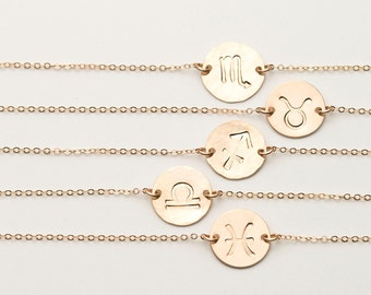 Dainty Zodiac Bracelet • Gold, Silver or Rose Gold Astrology Disk Bracelet • Scorpio Personalized Delicate Disc Bracelet • LB211_B