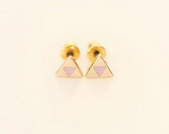 Lavender Triangle earring studs - Enamel Geometric earring studs