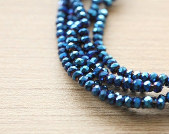 Electroplate Glass Beads - 100 pcs of Blue Plated Faceted Glass Crystal Rondelle Beads Loose Beads - 2.5 x 2 mm