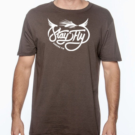 New stay fly fishing t shirt for men brown for Fly fishing shirt