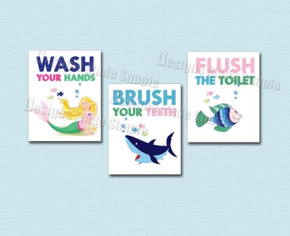 Bathroom Signs Brush Your Teeth shark mermaid and fish bathroom signs set of three