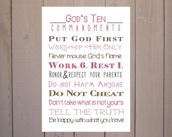 The Ten Commandments Print. Exodus 20. Print and Pop into any frame. DIY Instant Downloadable File. 10 Commandments for Nursery