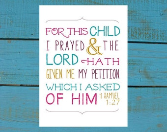 1 Samuel 1:27 For this Child I Prayed. Print and Pop into any frame. DIY Instant Downloadable File. Nursery Art Baby Shower Gift