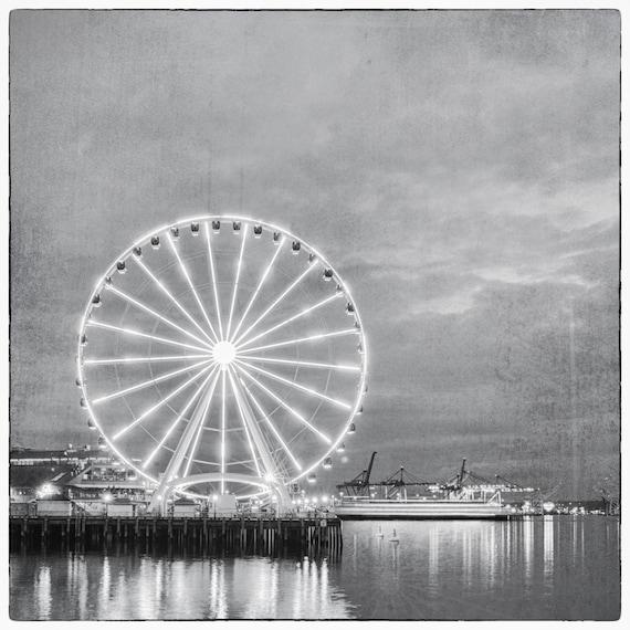 Seattle Ferris Wheel Light Show. Monochrome. Travel Photography. Black & White Print by OneFrameStories.