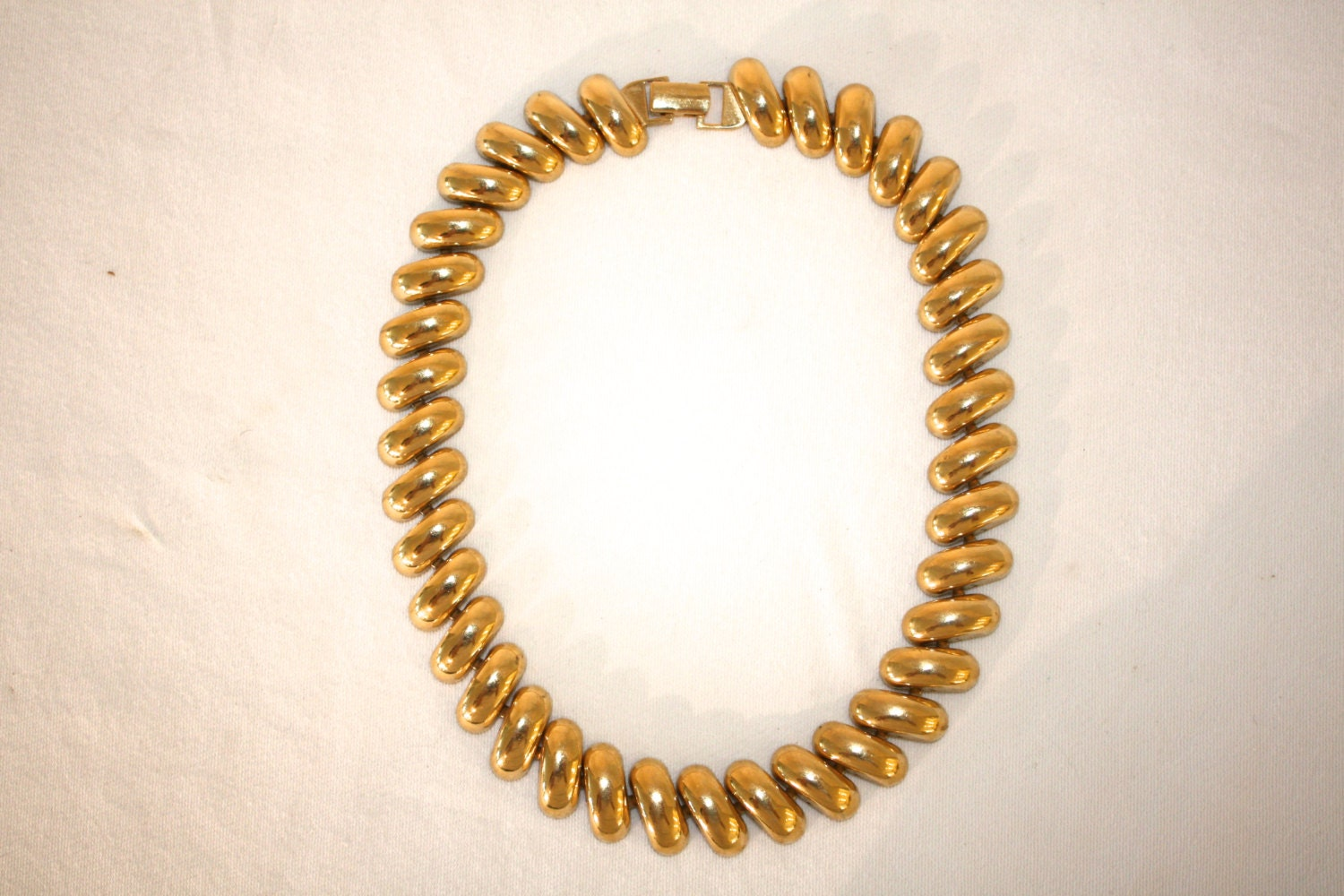 1960s vintage gold tone macaroni necklace free shipping