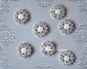 20 Rhinestone And Pearl Embellishments - Flatback  Button - Invitation Card - Brooch Bouquet - Wedding - Jewelry Supplies