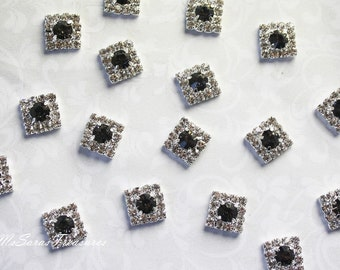 10 Clear And Black Damond Rhinestone  Embellishment - Button Flat Back - wedding supplies - Brooch Bouquet -Jewelry Supplies
