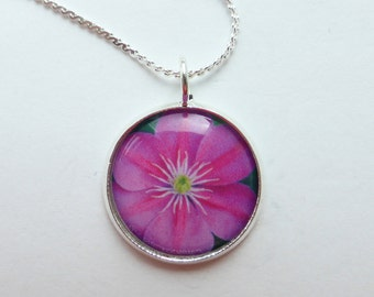 Pink Clematis Flower Pendant Necklace, Silver 16mm Round, Original Handmade Floral Necklace, OOAK, Photo Jewelry, Jewellery, Larryware