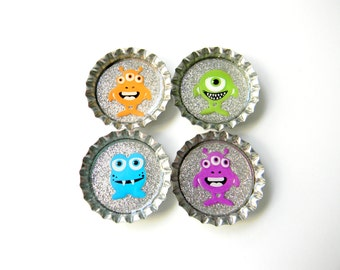 Bottle Cap Magnets - Monsters - Set of 4