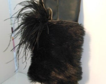 Burning Man Boots, rave Boots, Pirate Costume Boots, Witch Boots, Faux Fur & Ostrich Size 7.5