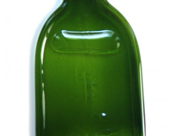Green Recycled Wine Bottle - Slumped Glass - Upcycled Cheese Platter - Flat Bottle - Eco-Friendly Serving Tray