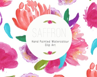 Watercolour Flowers - Hand Painted Clip Art - Saffron