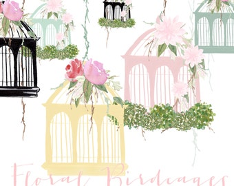 Watercolour Birdcage Clip Art - Floral Birdcages