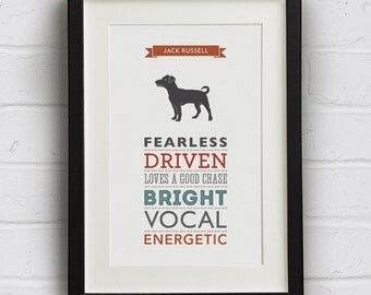 Jack Russell Dog Breed  Traits Print - Jack Russell Gift