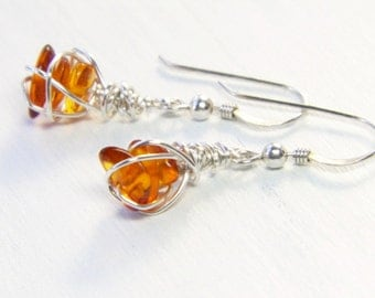 Baltic amber earrings - wire wrapped jewelry - petite dangle earrings - Gifts for Her