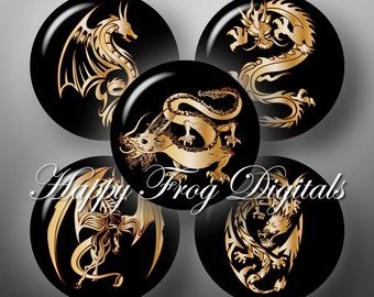 Golden Dragons - 12, 14, 16, 18, 20 mm circles - Digital Collage Sheet - 130 HFD - Printable Download - Instant Download