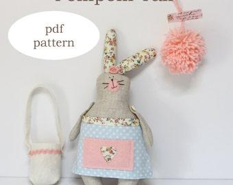 PDF pattern pompom tail rabbit - sewing pattern rabbit - softie rabbit pattern - sewing pattern bunny