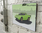 Lancia Stratos HF ClassicCar Art Personalised 12x8 Signed Print - 20th Century Supercar - Choose Colour, Number plate, Background