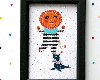 Postcard - Circus Lion-