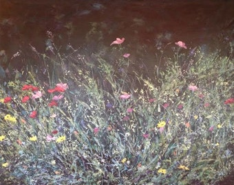 ORIGINAL Painting, Wild Flowers 48 X 36 Acrylic Canvas Woodland Meadow Prairie SHIPPING INCLUDED