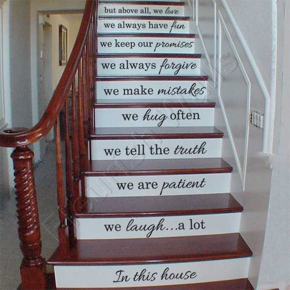 Vinyl stair decals in this house we do quote decals for for Escalier decor