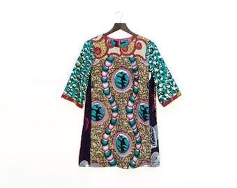 African Print Mini Dress, Loose Tunic Dress, African Clothing, Printed Summer Dress, Loose Shift dress, Ankara Dress