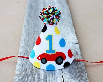 Boys 1st Birthday Cars Party Hat - 2nd Birthday - Cake Smash - Race Car - Photo Prop