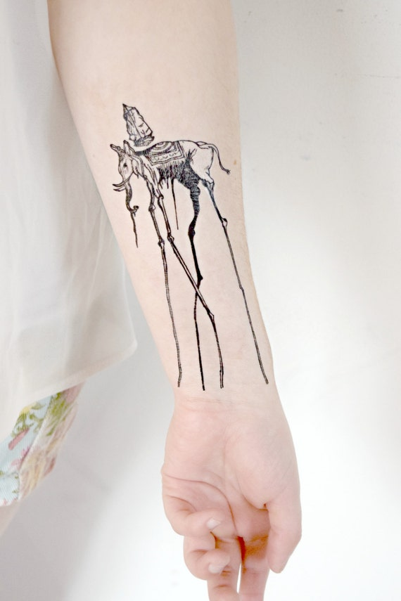 Items similar to temporary tattoo salvador dali artist for Temporary elephant tattoo
