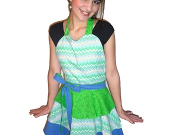Bright Green and Blue Chevron Sweetheart Apron
