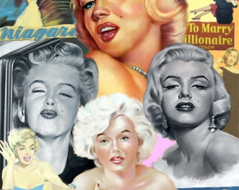 "Marilyn monroe painting, poster, print, reproduction, pastel drawing by artist eugene, 16""x20"",22.4""x28"""