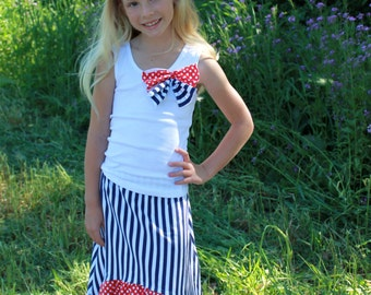 Girls 4th of July Stripes and Polka Dots Maxi Skirt, Girls Maxi Skirt, 4th of July Skirt, Womens maxi skirt