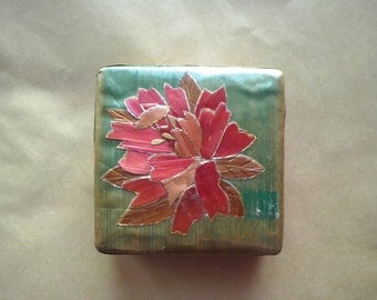Small vintage square bamboo box, chinese box, flower box, trinket box, treasure box, ring bearer (18p/41) (SYR 2)