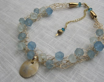 Beach Glass and Sand Dollar Beach Inspired Gold Wire Crochet Necklace