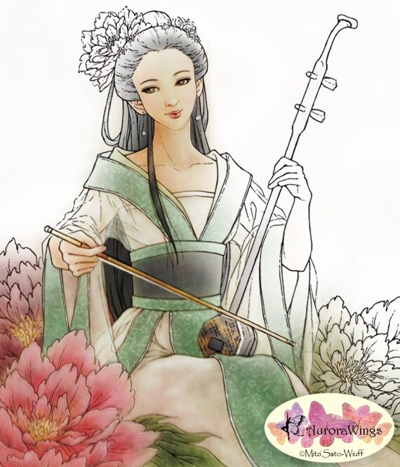 Digital Stamp - Instant Download - Heartstrings - Chinese Woman with Erhu in Peony Garden - digistamp - Fantasy Line Art for Cards & Crafts