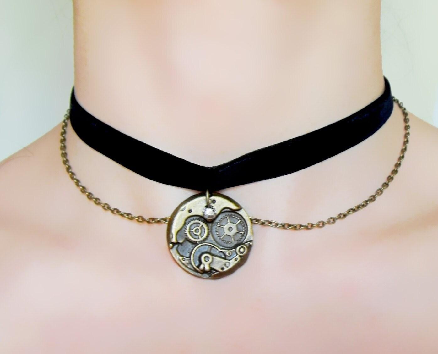 sale black velvet choker necklace steunk charm necklace
