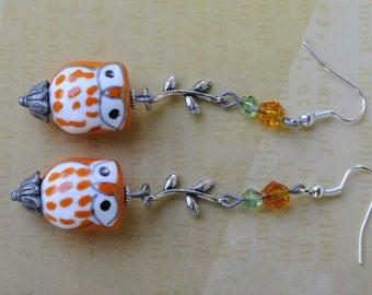 Owl earrings. Owl and branch earrings. Porcelain owl earrings. Harvest earrings. Halloween earrings. Ceramic owl earrings.