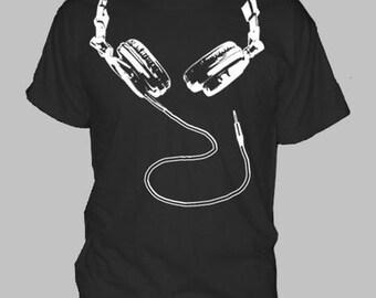DJ HEADPHONES T-SHIRT ~ hip hop dance house techno rave party