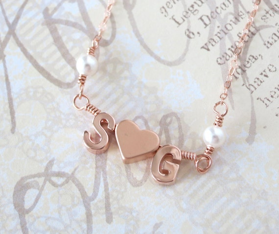 Personalized Rose Gold Letter Necklace - Rose Gold Initial Rose Gold Filled Chain, monogram, friendship, love couples initial necklace