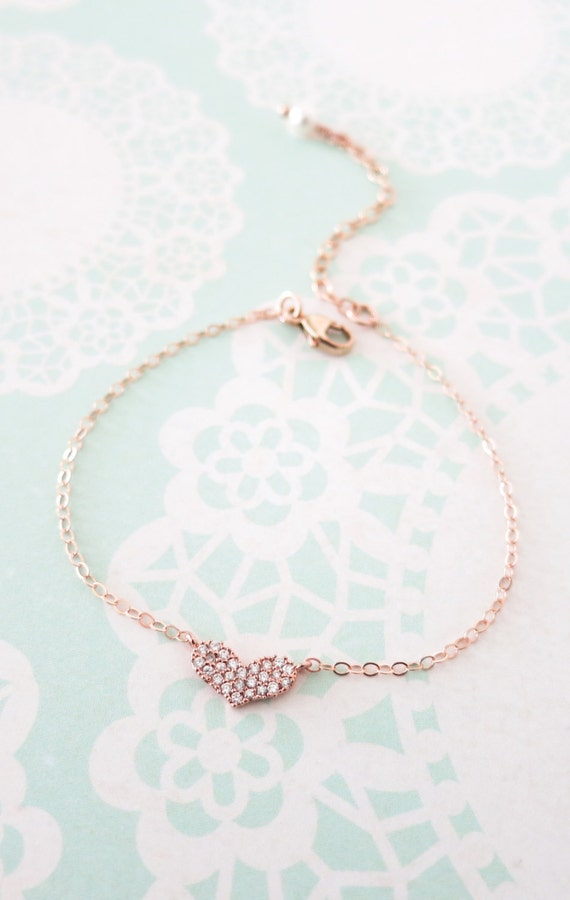 Petite Love Rose Gold FILLED Bracelet - Rose Gold Hear, chic, dainty, love, simple, gifts for her, best friend, friendship bracelet