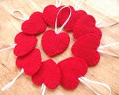 10 red heart decorations, Valentines heart ornaments, felt home decor, wedding favors, red wedding theme, valentines day decor, set of 10