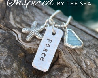 Peace stamped necklace, beach glass, hammered metal stamped necklace, inspired by the sea, Love Squared Designs