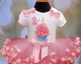 3D Cupcake 1st Birthday Tutu Outfit  in pink 2 pieces includes top and tutu only